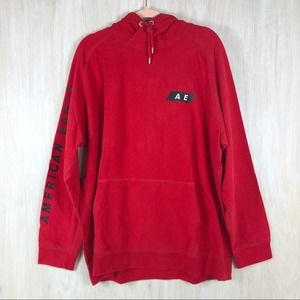 American Eagle Red Pullover Men's Hoodie Sweater